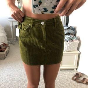 BDG Moss Green Corduroy Mini Skirt NWT